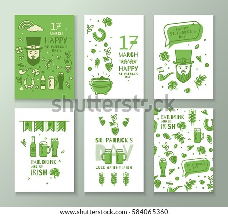 Collection of banners for St. Patrick's Day. Simple sleek design in a thin line. Flyers can be used for advertising, party.