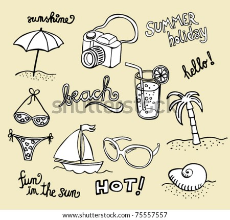 Collection of beach doodles - sketches