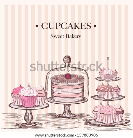 collection of beautiful cakes and cupcakes
