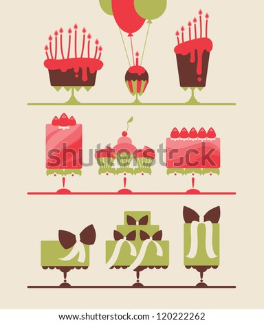 collection of beautiful cakes and cupcakes for wedding, birthday or party vector eps 10
