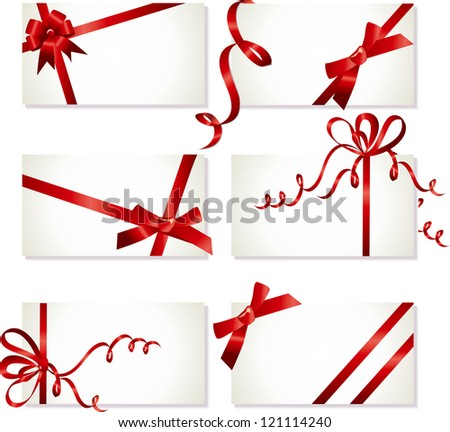 collection of beautiful cards with red gift bows with ribbon, Vector - stock vector