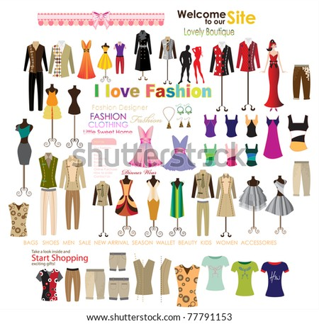 collection of beautiful fashion and clothing hanging on mannequin as display.
