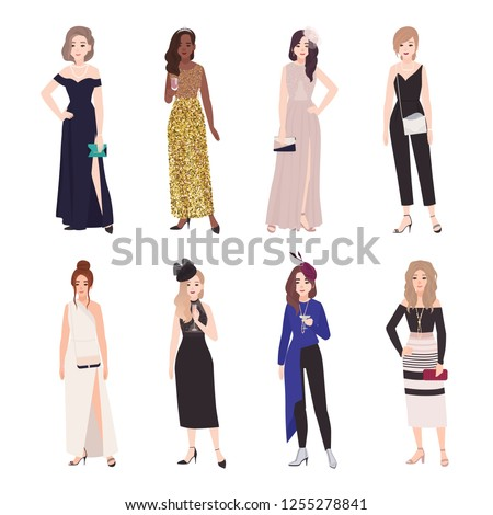 aa05347822dd Flat vector design. Collection of beautiful young women in evening outfits.  Set of girls wearing elegant formal dresses