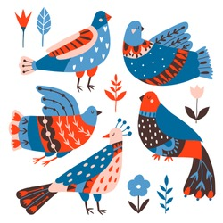 Collection of birds and flowers with different folk ornaments. Hand drawn flat doodle illustration with stylized  decorative floral elements. Scandinavian style. Traditional decor. Vector