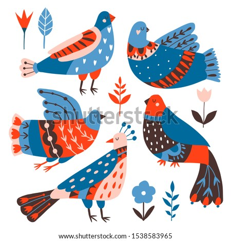 Collection of birds and flowers with different folk ornaments. Hand drawn flat doodle illustration with stylized  decorative floral elements. Scandinavian style. Traditional decor. Vector  stock photo