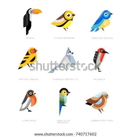 collection of birds  lilac