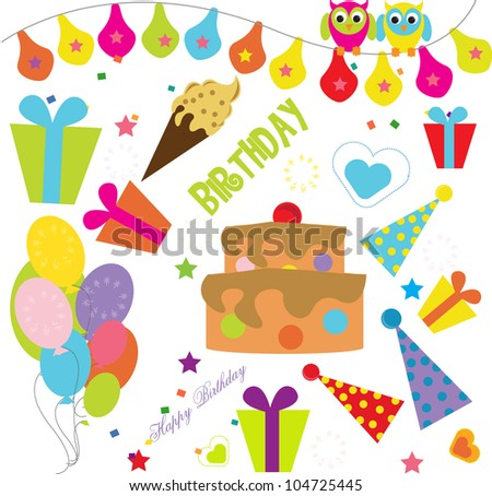 collection of birthday elements
