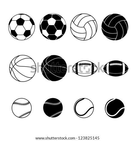 Collection Of Black And White Sports Balls Vector Illustration  Silhouettes