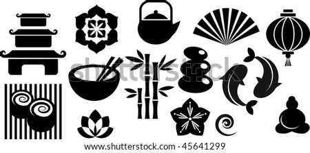 Collection of black and white Zen icons - vector illustration