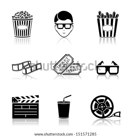 Collection of black cinema icons isolated on white background, illustration.