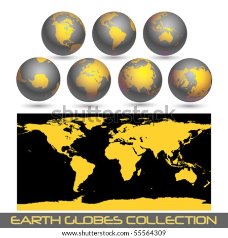 collection of black earth globes end a map isolated on white, vector illustration
