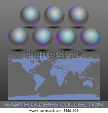 collection of black earth globes end a map , vector illustration