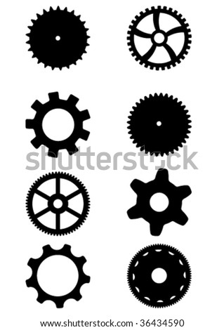 Collection of black gears. White background. Vector editable file available