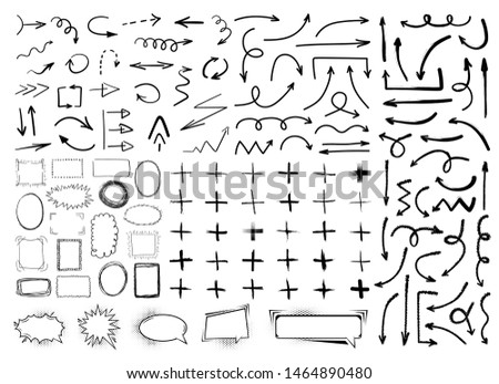 Collection of black hand drawn arrows, frames, plus symbols and comic speech bubbles isolated on white background. Simple, grunge, sketch, modern style. Vector illustration