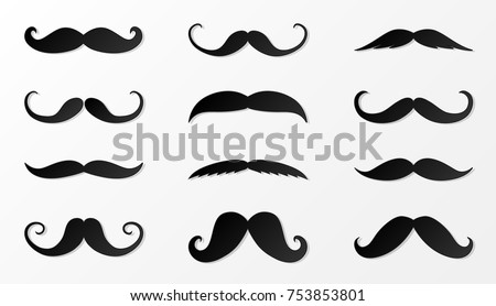 Collection of black moustache made of paper. Vector.
