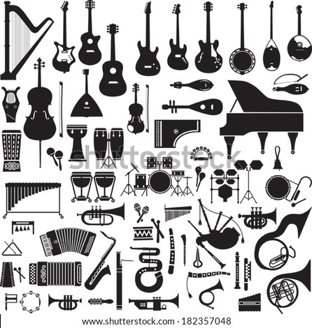 Collection of 60 black silhouettes of musical instruments on a white background