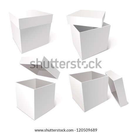 Collection of blank boxes isolated on white background, vector illustration