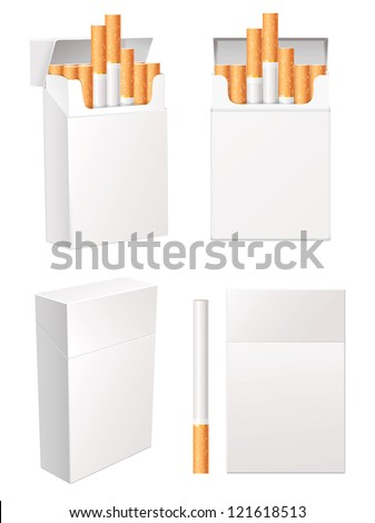 Collection of blank cigarette pack. Isolated on white background. Vector illustration eps 10. Set