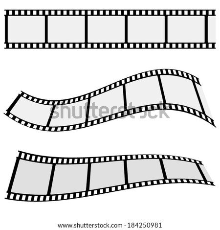 Collection of blank cinema film strip frames with different shape effect and empty space for your movie photograph and picture. EPS 10 vector illustration isolated on white background.