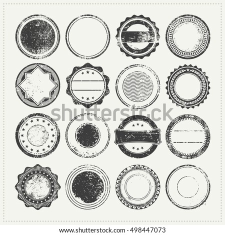 collection of blank/empty grungy rubber stamps - vintage postage stamps, grunge promo badges or backgrounds for logo designs