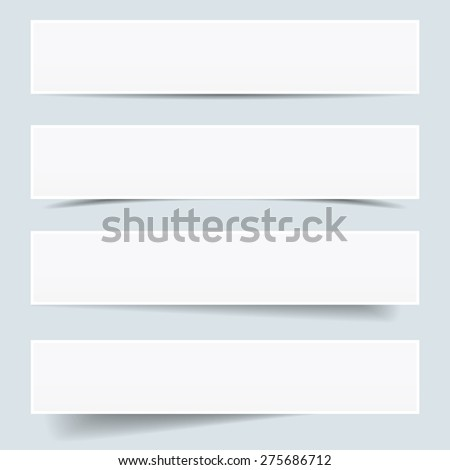 Collection of blank paper frames with different shadow effect and empty copy space, backdrop and background for your advertising, photograph and picture EPS 10 vector illustration.