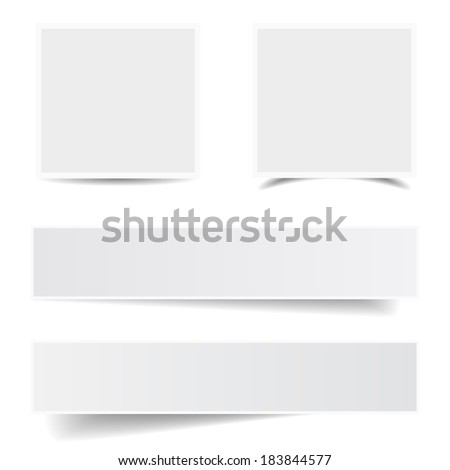Collection of blank paper frames with different shadow effect and empty copy space for your advertising, photograph and picture. EPS 10 vector illustration isolated on white background.