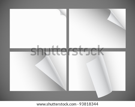 Collection of blank paper sheets with bending corners