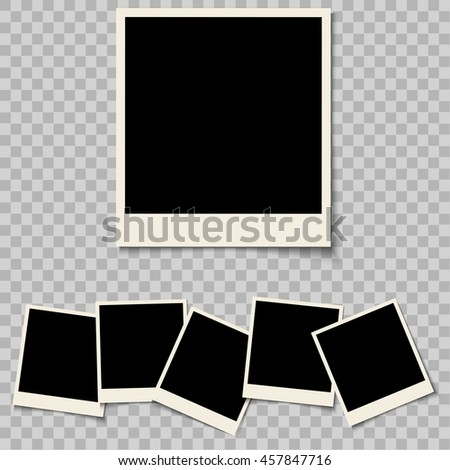 Collection of blank photo frames isolated on a background. Retro photo frames with shadow and empty space for your photograph. Vector set  #457847716