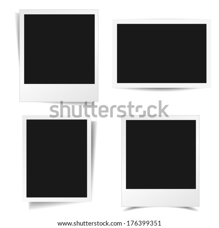 Collection of blank photo frames with different shadow effect and empty space for your photograph and picture. EPS10 vector illustration isolated on white background.