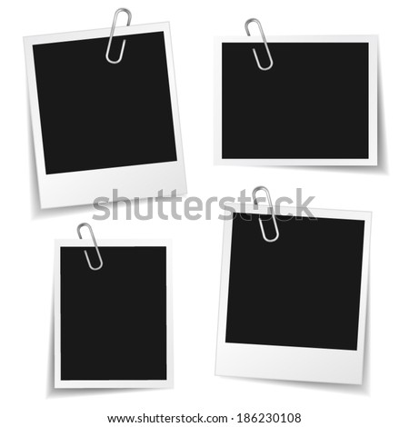 Collection of blank photo frames with paper clip and different shadow effect and empty space for your photograph and picture. EPS10 vector illustration isolated on white background.