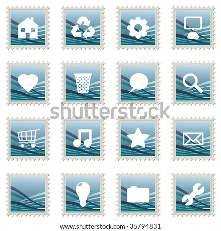 collection of blue gradient stamp icons