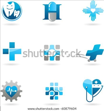 Collection of blue medicine and health-care icons - stock vector