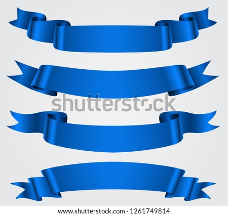 Collection of blue ribbons.Blank ribbon banners.