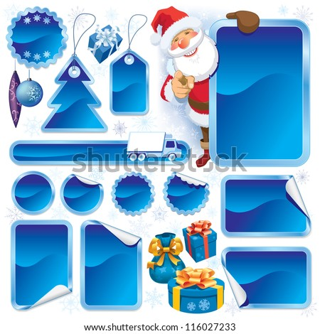 Collection of blue stickers and Christmas design elements