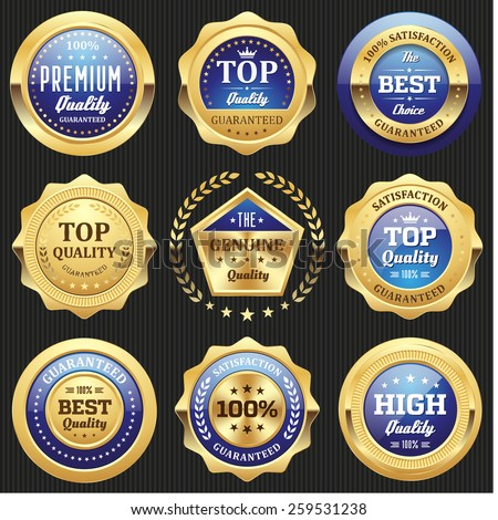 Collection of blue top quality badges with gold border