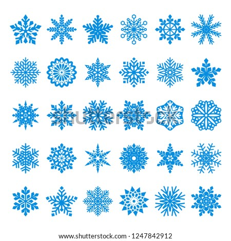 collection of blue  vector snowflakes on white background
