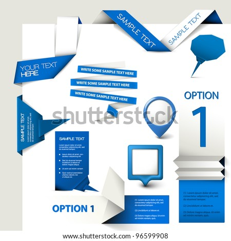 Collection of blue Vector web elements