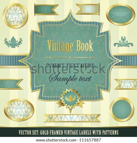 Collection of blue vintage labels and ribbons with patterns, stripes and gold
