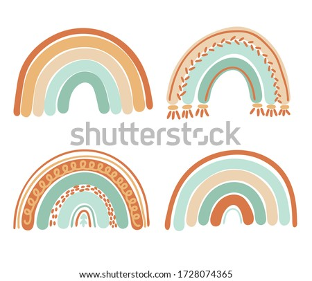 Collection of boho rainbows in pastel mint and brown colors, isolated elements on white background; nursery art design, for printing on baby clothes and textiles, home decor art, vector illustration