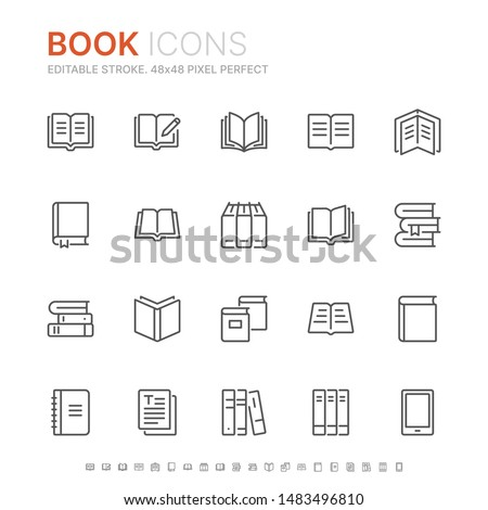 Collection of books line icons. 48x48 Pixel Perfect. Editable stroke Foto stock ©