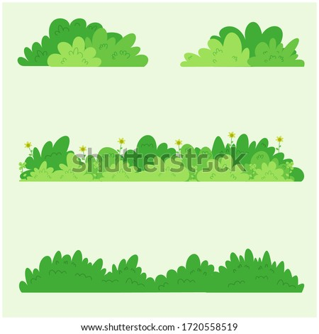 Collection of border grass in flat design