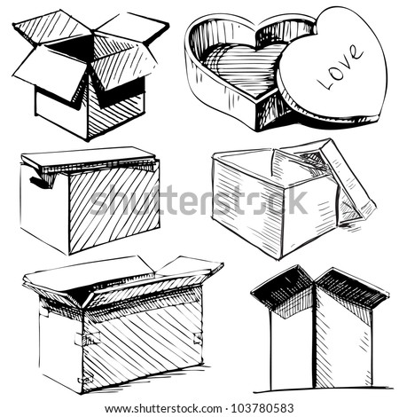 Collection of box icons isolated on white background. Hand drawing sketch vector illustration