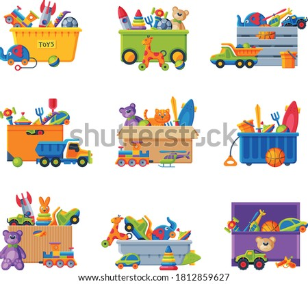 Collection of Boxes with Various Colorful Toys, Plastic and Cardboard Containers with Baby Playthings Flat Vector Illustration ストックフォト ©