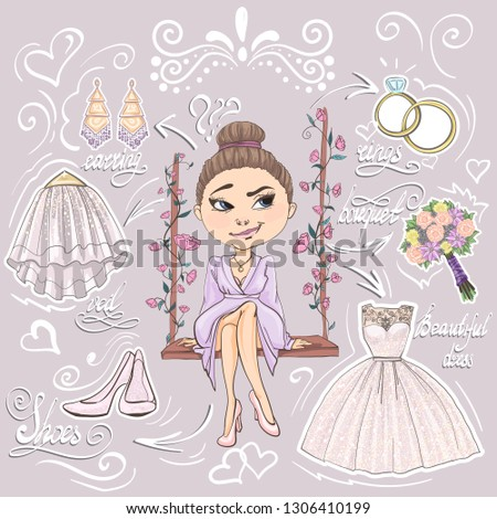 Collection of bride preparing for wedding ceremony. Set of preparations for marriage celebration day. Vector illustration in cartoon style.
