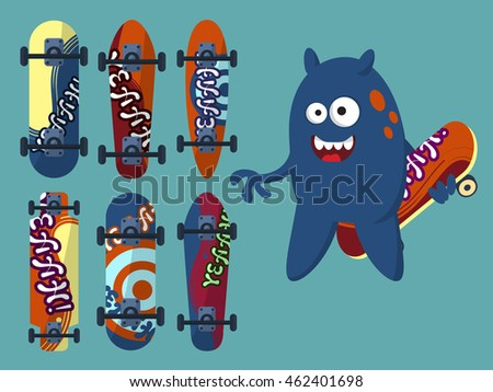 collection of bright skateboard
