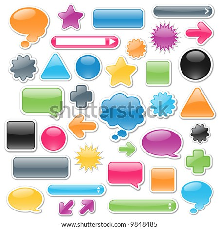 Collection of brightly colored, glossy web elements. Perfect for adding your own text or icons. Blends used to create drop shadow effect. - stock vector