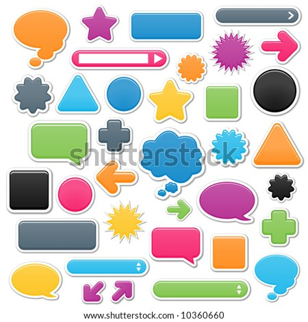 Collection of brightly colored, smooth web elements including: arrows, search bars, speech and thought bubbles. Perfect for adding your own text or icons. Blends used to create drop shadow effect.