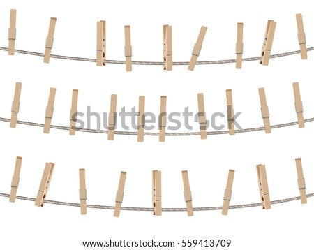 Collection of brown wooden clothespins, pegs illustration. ストックフォト ©