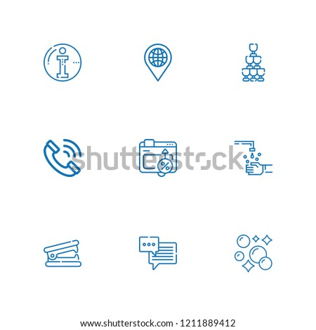 Collection of 9 bubble outline icons include icons such as phone call, conversion, chat bubble, location, info, stapler remover, hand wash, bubbles