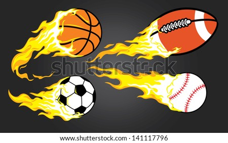 collection of burning sports
